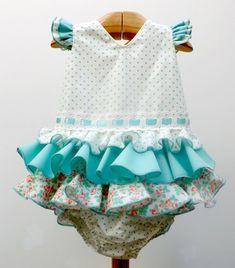 Traje de gitana flamenca para bebe realizado a mano por nuestras propias modistas. Consulta nuestra tienda online www.mibebesito.es Little Girl Outfits, Little Girls, Baby Sewing, Sewing Patterns, Hair Beauty, Plus Size, Summer Dresses, Tops, Women