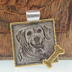 Pet Photo Engraved Square Pendant - 24K Gold Frame
