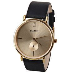 BINCHI Quartz Watch with Two Hands Number and Strips Hour Marks Real Leather Watchband IP Plating for Men, BLACK in Men's Watches | DressLily.com