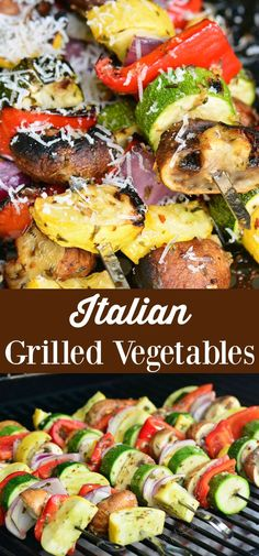 Italian Grilled Vegetables is marinaded zucchini, yellow squash, mushroom, onions, and peppers cooked on the grill and finished with grated Parmesan cheese. Grilled Vegetable Recipes, Grilled Vegetables, Grilled Vegetable Marinade, Vegetables On The Grill, Grilled Recipes, Veggie Food, Grilled Mushrooms, Stuffed Mushrooms, Stuffed Peppers