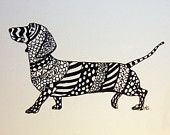 Dachshund Zentangle Original Pen and Ink Drawing with Hearts  Free Shipping in USA