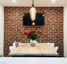 The popular Chicago Rojo brick slips are a red and smoke effect brick cladding which can be used internally or externally. Red Bricks, Dining Table, Dining Room Feature Wall, Feature Wall, Brick Slips Kitchen, Red Brick Walls, Wall Cladding, Red Dining Room, Brick