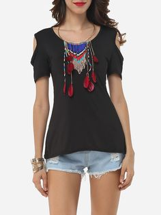 Hollow Out Lace Patchwork Plain Modern Round Neck Short-sleeve-t-shirts
