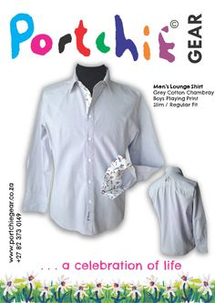 Men's #Portchiegear Grey cotton chambray shirt with boy playing print detail and embroidery on reverse