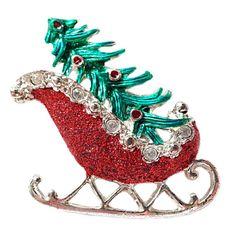 Christmas Sled Vintage Brooch Tree Holiday Pin by RomeoetJuliet
