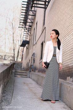 striped maxi dress ivory blazer by PetiteAsianGirl, via Flickr