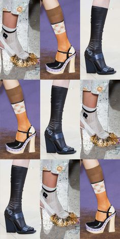 We've made it to Paris, the homestretch of fashion month, where trends can blossom on their own or solidify things we've seen in New York, London, and Milan. And, as of yesterday, it's certain that socks worn with heels is a thing that is happening — or at least a neat little styling trick.