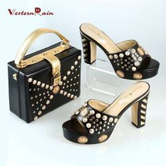 33d5f1bafde9 Women Black Shoes and Bags Set to Match for Party Wedding Italian Handbag  and Shoes