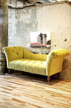 """love the chaise."" Me too and the patina on the wall and column is great too. S"