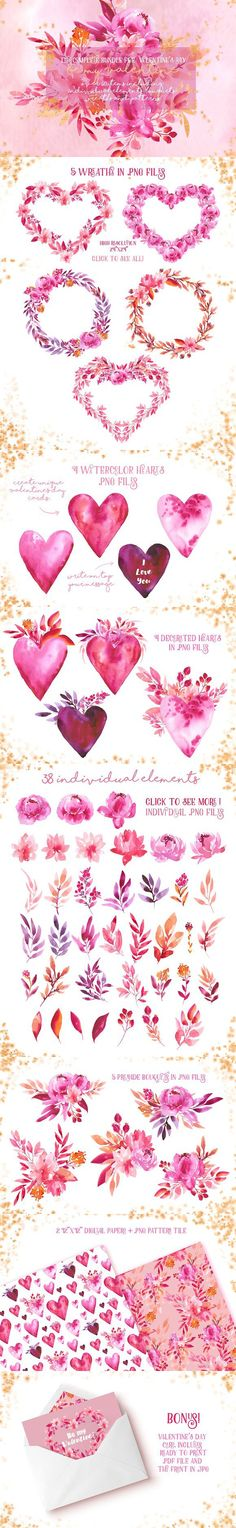 Be my Valentine - watercolor set. Watercolor Flowers. $14.00
