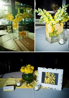 for a gray and yellow theme, lemons are also a great way to decorate!
