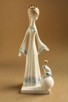 Art deco porcelánok: Királylány békával - aquazur - Aquincum porcelán Retro Art, Porcelain Ceramics, Modernism, Most Beautiful, Sculptures, Art Deco, Pottery, Decor, Decorations