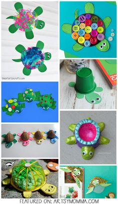 Sea Turtle Crafts made from paper plates, clay, cds, shells, & more! #kids #craft #ideas #underthesea #recycled #artsymommadotcom