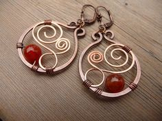 wire wrapped earrings, mixed metal earrings, natural stone earrings, wire wrapped jewelry handmade, earthy, fire agate, hand crafted jewelry by TFUniqueTwists on Etsy https://www.etsy.com/listing/517587372/wire-wrapped-earrings-mixed-metal