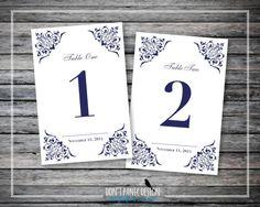 """Elegant Floral Printable Wedding Table Number 1-30 - Custom Date Table Number - 4"""" x 6"""" Table Numbers - Dinner Table Numbers - Custom Colors"""