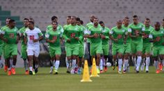 Algeria's footballers run during a training session at the Walter Ribeiro stadium in Sorocaba, Sao Paulo, Brazil on June 9, 2014