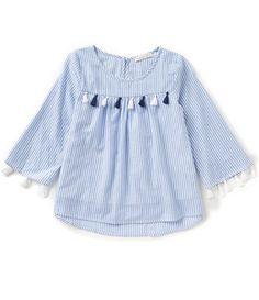 Copper Key Big Girls 7-16 Striped Tasseled 3/4-Sleeve Peasant Top