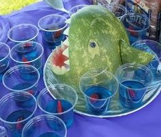 jello shots (sans alcohol for the kiddos... of course :) with sweedish fish for an ocean themed party