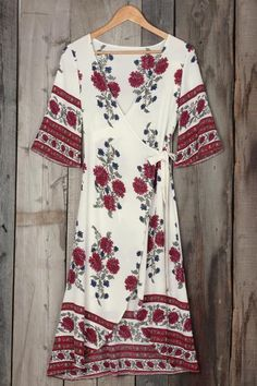 Cupshe For the Roses Plunging Wrap Dress