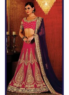 Imperial Georgette Hot Pink Lehenga Saree