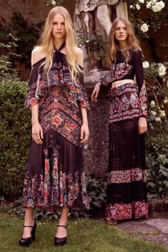 Resort 2017 | Roberto Cavalli | Retro outfits and boho floral maxi dresses | The Luxe Lookbook