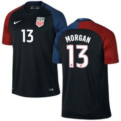 37709afe6 Alex Morgan 13 USMNT 2016 USA Men s Away Soccer Jersey - Black