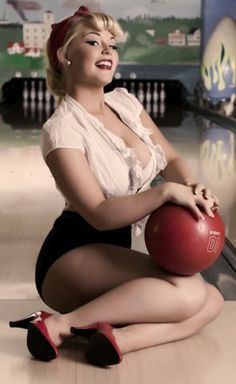 Bowling alley pin up. Short shorts for you Katie!