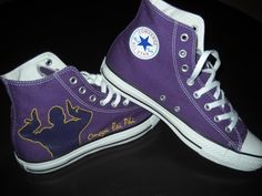 These are hand painted purple Omega Psi Phi Allstars. If you would like to see more, visit www.sonyawalkercreations.bigcartel.com