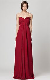 CRANBERRY LONG STRAPLESS CHIFFON GOWN WITH FLOWER DETAIL ON BODICE AND EMPIRE WAIST