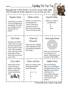 Distribute this spelling tic-tac-toe sheet at the beginning of the month. Instruct students to complete 3 activities each week to form a tic-tac-to...