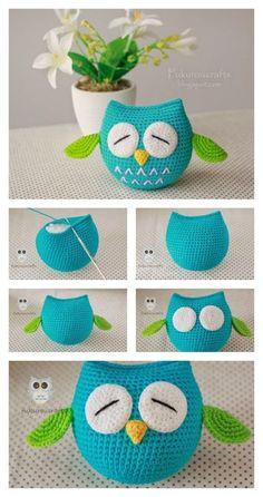Crochet Amigurumi Ideas Cute Owl Free Crochet Pattern - Here are a couple of owl free crochet pattern. These are super cute amigurumi owls, especially the one with their big sleepy eyes. Crochet Gifts, Cute Crochet, Crochet Dolls, Crochet Baby, Beautiful Crochet, Crochet Hearts, Crochet Beanie, Knitted Dolls, Crotchet