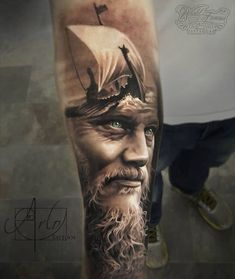 amazing ragnar tattoo by Arlo DiCristina with double exposure effects (3)