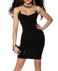 Bandeau Helix Bodycon Dress in Black