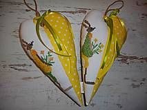 Veľká Noc - Vyšívané srdiečko so zajačicou_žlté+žlté šaty - 5093659_
