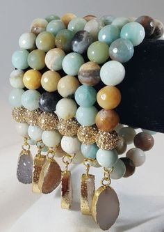 Amazonite-Beaded-bracelet-with-PaveSetting-and-Druzy-Charm-High-quality