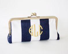 Monogrammed Clutch - Navy & White Stripe + Gold