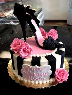 Awesome Image of High Heel Birthday Cake . High Heel Birthday Cake Sexy Hot Pink And Black High Heel Shoe Cake For That Fashionable cake decorating recipes anniversaire chocolat de paques cakes ideas 19th Birthday Cakes, Birthday Cupcakes For Women, Cool Birthday Cakes, Birthday Cake Girls, High Heel Cakes, Shoe Cakes, Purse Cakes, Pretty Cakes, Beautiful Cakes