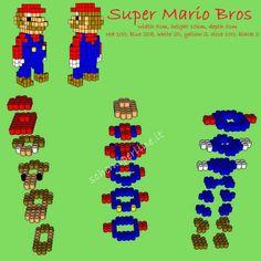 Schema in 3D Super Mario Bros con le Pyssla o Hama Beads