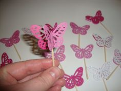 20 pinks and white glitter butterfly cupcake toppers- baby shower, birthday party, butterfly theme, wedding, customize colors. $8.99, via Etsy.