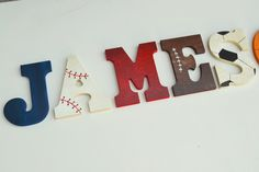 100% hand made! Custom Vintage Decor for Kids Rooms and more - Any sport or team you want! Custom wood letters can be painted to match almost ANY theme or color scheme. I also use a gloss finish to gi