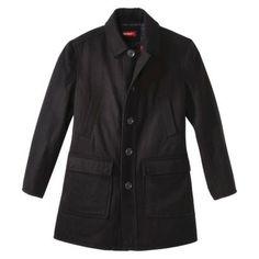 Merona® Men's Wool Blend Overcoat - Solid Black in medium or large