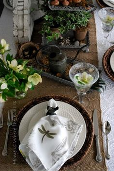 green brown & white tablescape w/ lots of natural elements