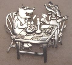 Signed JJ Company pewter vintage brooch | pin jewelry. Whimsical dogs at the dinner table.