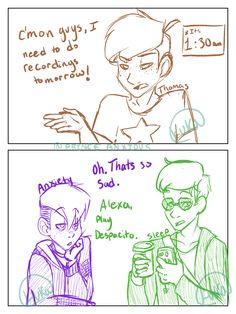Alexa , Play despacito' is a running meme in our discord right now and I couldn't resist drawing it in such a fitting scenario. xD Tagging and and Thomas Sanders, Sander Sides, Thomas And Friends, My Tumblr, Anime, Dark Side, Youtubers, Roman, Nerd