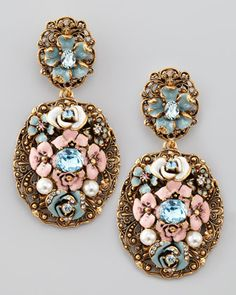 Baroque+Floral+Earrings+by+Oscar+de+la+Renta+at+Bergdorf+Goodman.