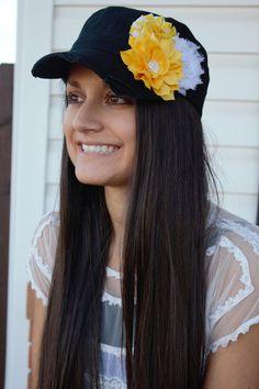 Yellow black Hat women's Shabby Chic Flower Hat distressed Bling Rhinestone Hat Cadet Cap black yellow baseball cap military gift for mom (scheduled via http://www.tailwindapp.com?utm_source=pinterest&utm_medium=twpin&utm_content=post3972615&utm_campaign=scheduler_attribution)