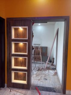 is beautiful foundation and light box if you want to see more design by . Cupboard Design, Interior Design Living Room Modern, Pooja Room Door Design, Kitchen Furniture Design, Home Room Design, Kitchen Room Design, Room Partition Designs, Door Design Interior, Door Glass Design