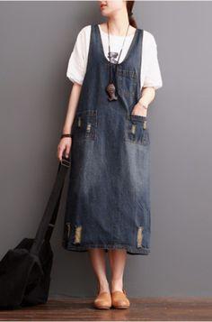 Dark Blue Hole Painter Cowboy Suspender Dress Oversize Causel Women Clothes