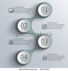 vector abstract 3d paper infographic elements.Metaball infographics of the four steps