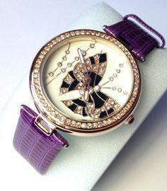 Women's Watch Butterfly Austrian Crystal, Rose tone, Purple Leather Strap 43MM #Genoa #Fashion